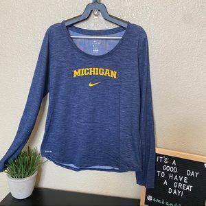 NIke Michigan Long Sleeve Dri Fit Shirt medium